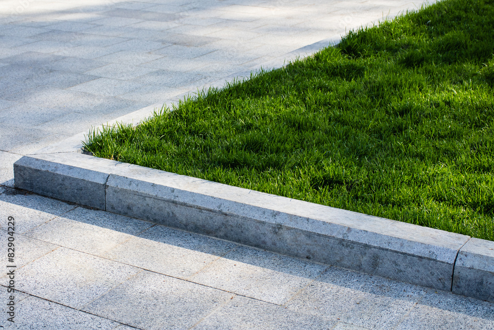 Fototapeta Trim the lawn in the park on the sidewalk