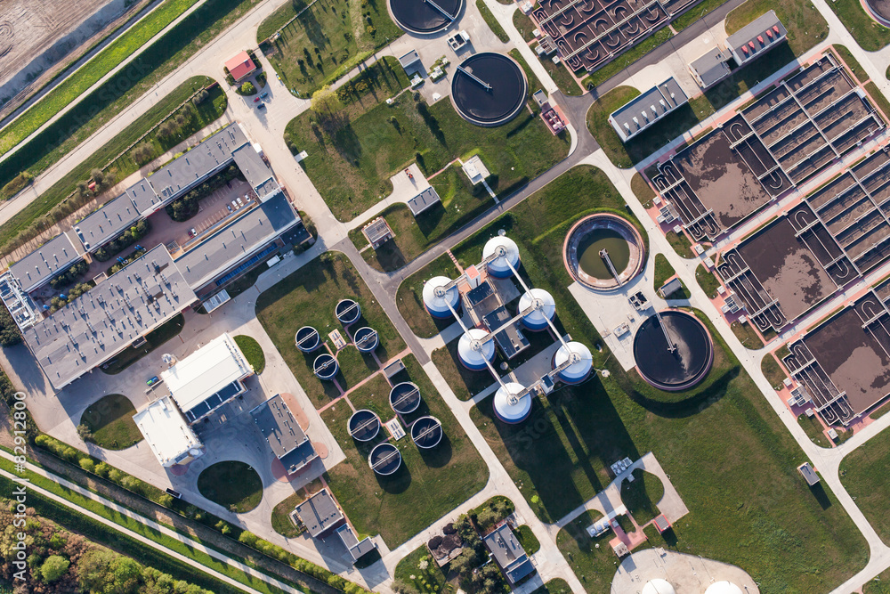 Fototapety, obrazy: aerial view of sewage treatment plant