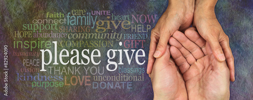 Tablou Canvas Please give generously charity word cloud banner
