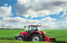 Red Tractor Mows The Grass.