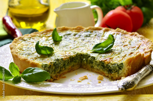 Quiche with spinach.