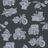 motor vehicle car plane ship helicopter seamless pattern white o
