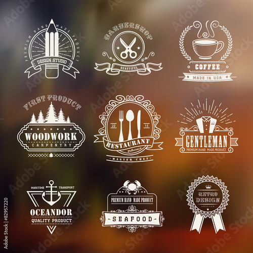 Fototapeta vintage style emblems set obraz na płótnie