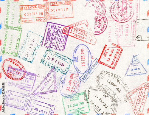 Photo  Immigration stamp. Passport Stamps