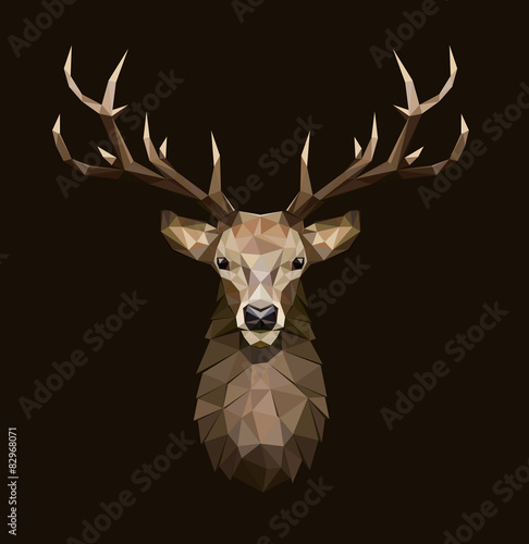 Deer polygonal Illustration. Low poly deer with horns.