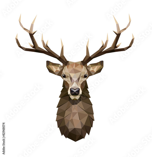 Fotografie, Obraz  Deer polygonal Illustration. Low poly deer with horns.