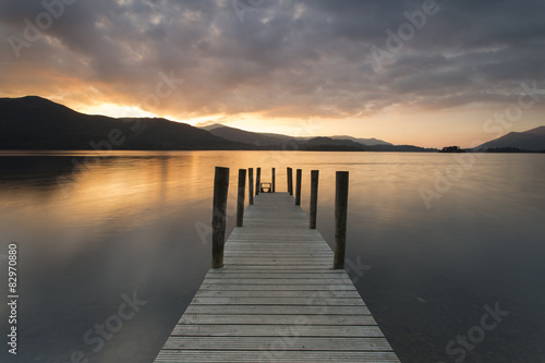 Wooden jetty on Derwent water - Lake district, England.