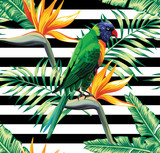 parrot and flower exotic pattern