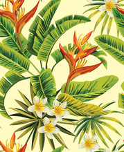 Tropical Exotic Flowers And Plants  Pattern