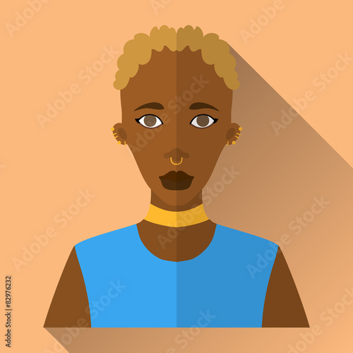 Fotografie, Obraz  Young african american woman, square flat icon
