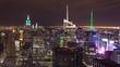 Beautiful night time-lapse of Manhattan New York skyline