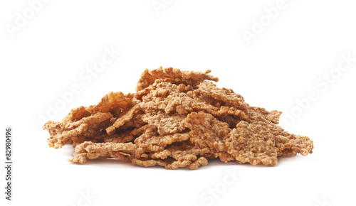 Canvas Print Pile of whole grain cereal flakes