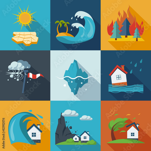 Cuadros en Lienzo Natural Disaster Icons