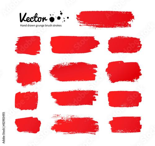 Fotomural Red paint brush strokes.