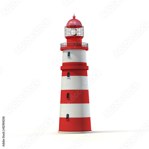 Tuinposter Vuurtoren lighthouse 3d illustration