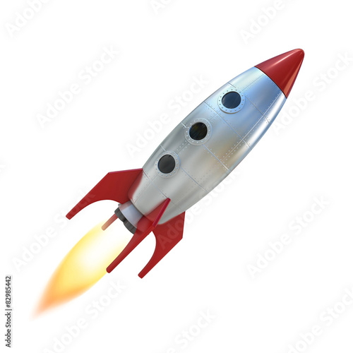 Photo  cartoon rocket space ship