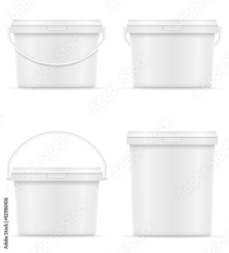 white plastic bucket for paint vector illustration Wall mural