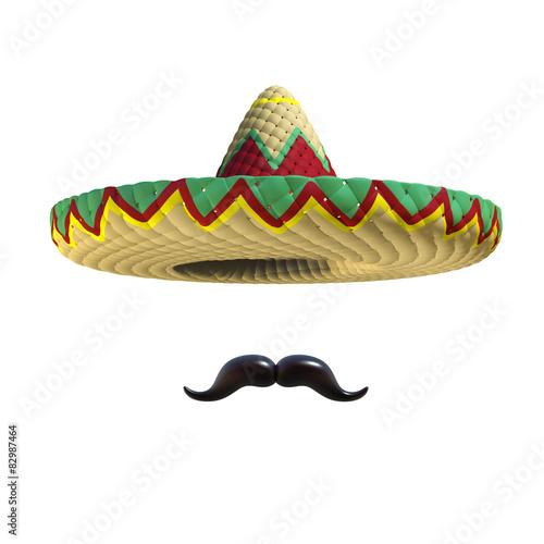 Fotografie, Obraz  Mexican hat sombrero with mustache