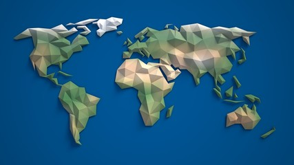 Fototapeta3d triangular world map