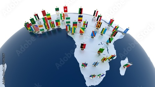 Fotomural African continent with country flags