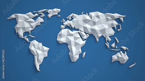 Photo  3d triangular world map