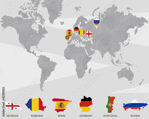 World map with Georgia, Romania, Spain, Germany, Portugal, Russi ...