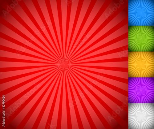 Fotografie, Obraz  Sunburst, starburst background set, colorful rays, beams. Blue,