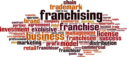 Franchising word cloud concept. Vector illustration