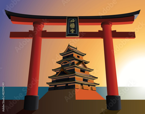 japanese castle in sunset
