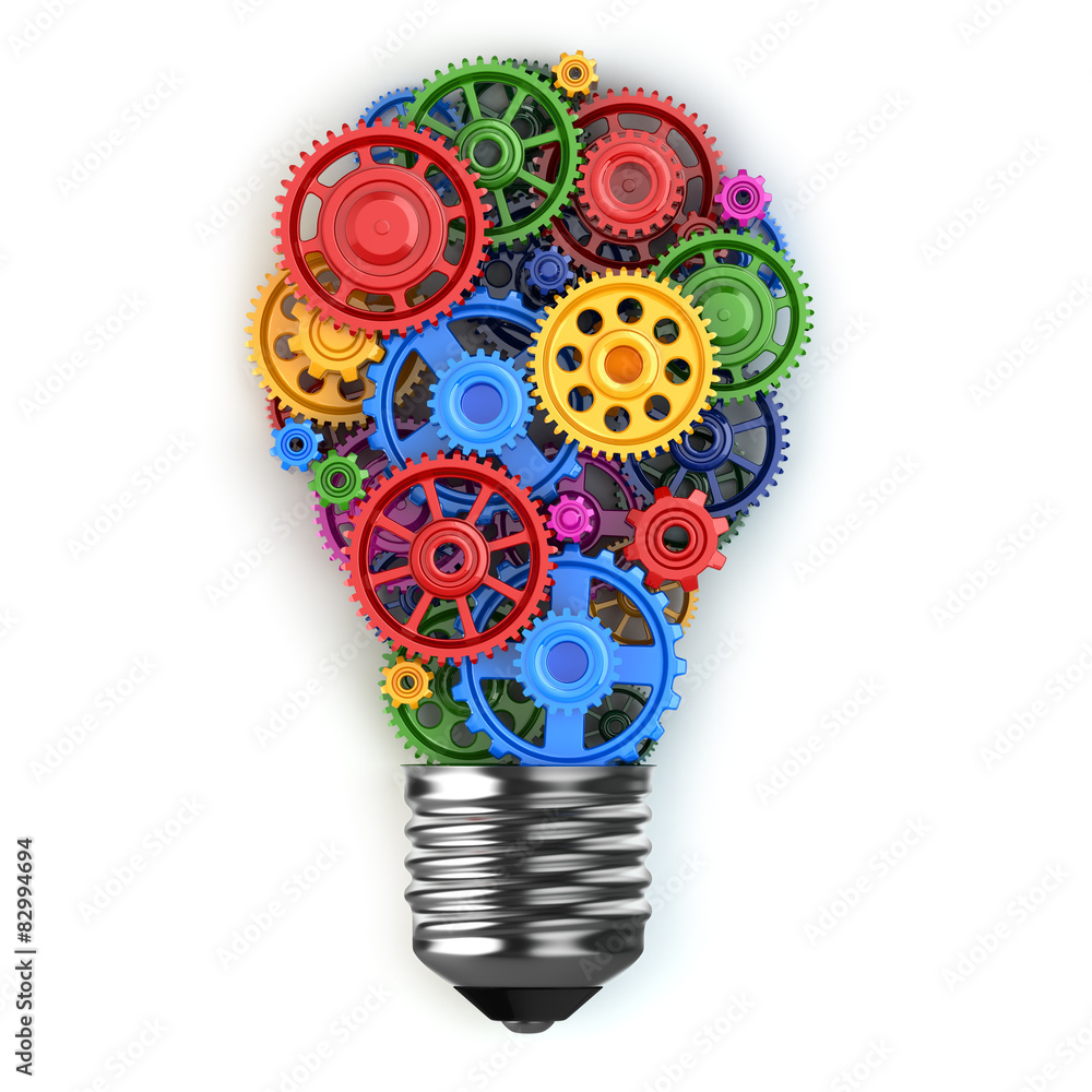Fototapety, obrazy: Light bulb and gears. Perpetuum mobile idea concept.