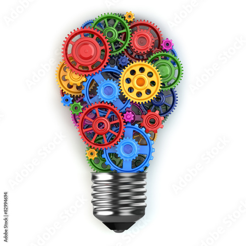 Fotografie, Obraz  Light bulb and gears. Perpetuum mobile idea concept.