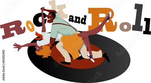 Rock and Roll dancers on a vinyl record - 83002440