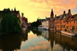 canvas print picture - Sunset over the beautiful medieval canals of Bruges, Belgium