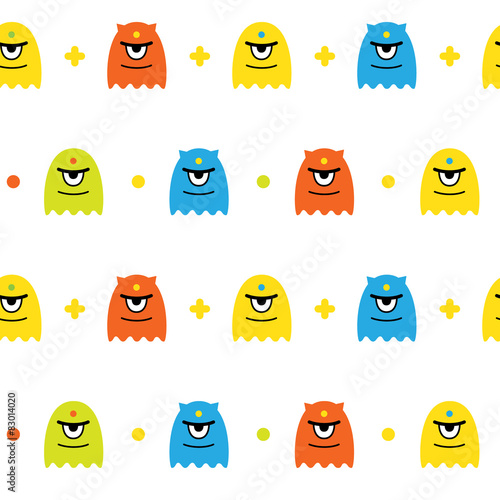 Fotografie, Obraz  Vector background with cute monsters