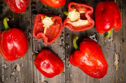 Fotografie, Obraz  Fresh bell pepper on wooden background