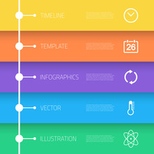 Web Infographic Timeline Template Layout With Vector Icons, Coul