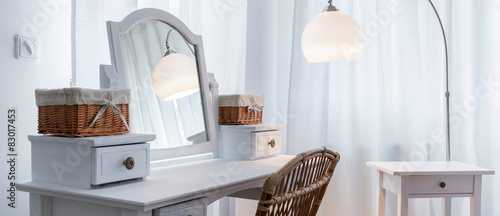 Dressing table in bedroom Canvas Print