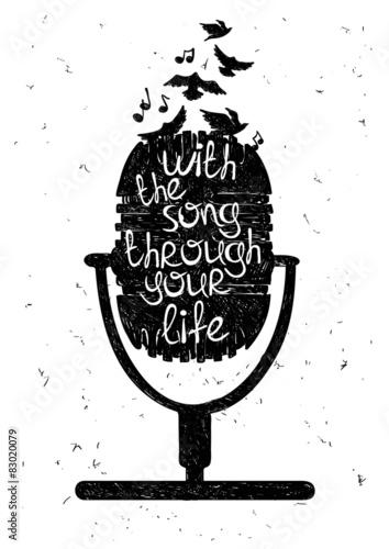 Obraz premium Ręcznie rysowane ilustracja muzyczna z sylwetka mikrofonu.