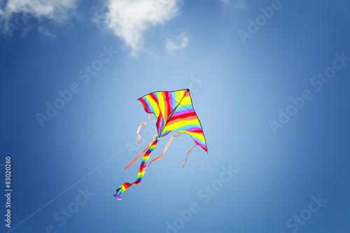Fotografie, Obraz  Kolorowy latawiec na błękitnym niebem