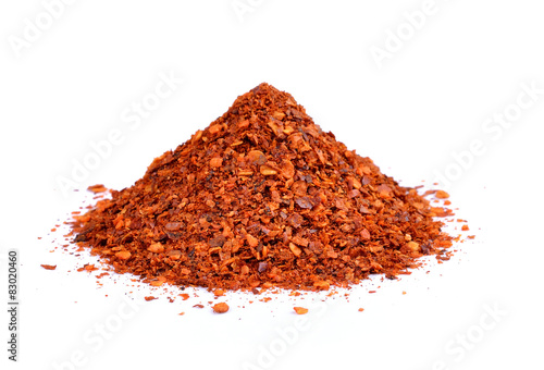 Canvas Prints Spices Powdered dried red pepper on white background