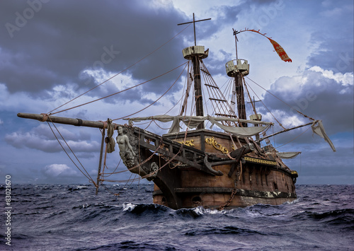 Abandoned sailboat on a stormy sea Fototapeta