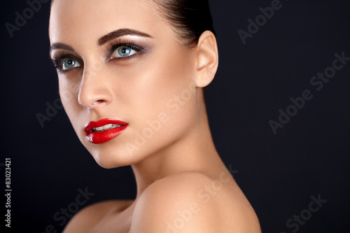 Fotografie, Obraz  Beauty Red Lips Makeup. Beautiful Woman whit  Makeup