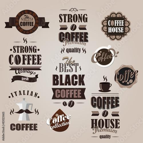 Poster Affiche vintage Retro Coffee logotypes set. Vintage badges and labels set.