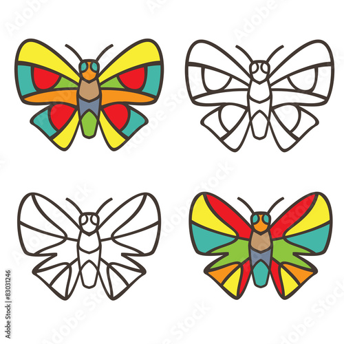 Butterflies in the style of stained glass. Coloring book – kaufen ...