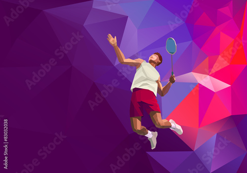 Obrazy Badminton   polygonal-professional-badminton-player-on-colorful-low-poly