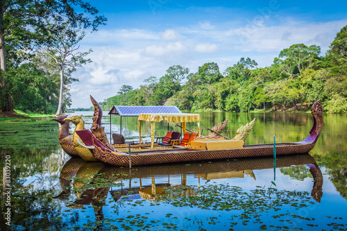 Thai traditional  boats on the lake near,Bayon temple in Angkor
