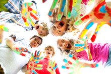 Smiling Kids With Colourfull H...