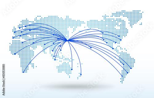 Fotografia  世界地図・ドット・グローバル・ネットワークイメージ・World map Vector