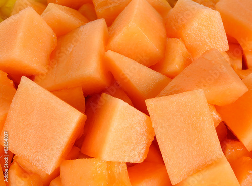Obraz na płótnie Close up slice of fresh melon