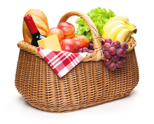 Picnic Basket With Food.